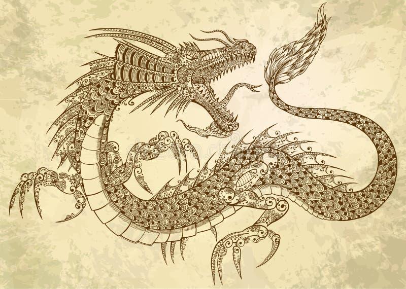 Doodle del drago del tatuaggio del hennè illustrazione di stock