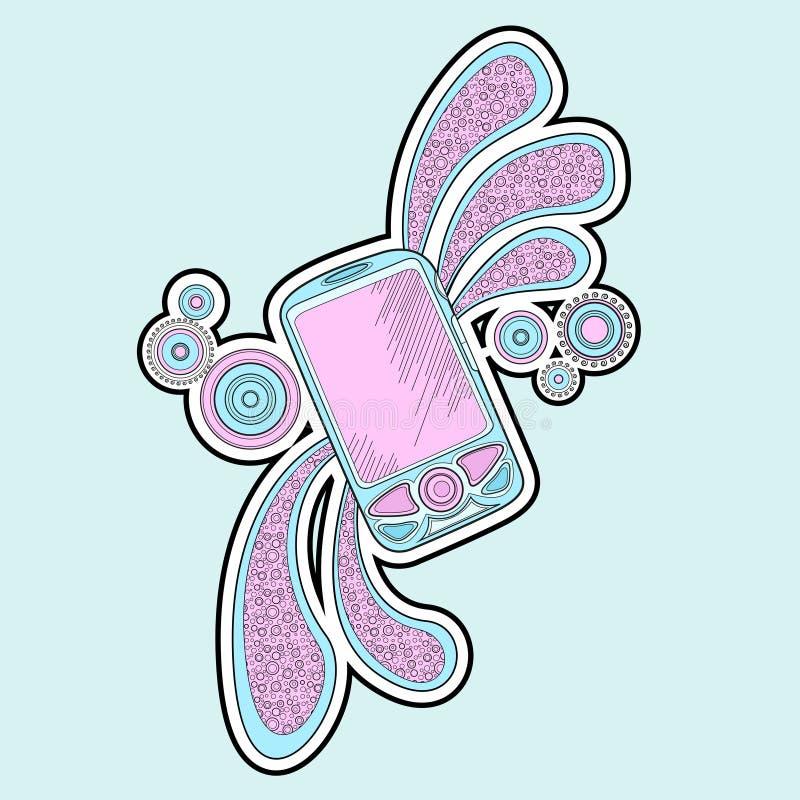 Doodle del teléfono móvil stock de ilustración