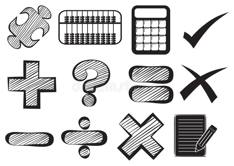 download doodle design of the different math operations stock vector illustration of many calculations