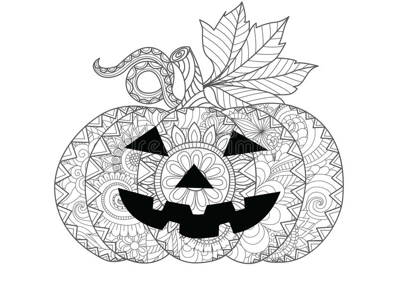 Doodle design of Halloween pumpkin for Halloween card invitations and adult coloring book pages for anti stress stock illustration