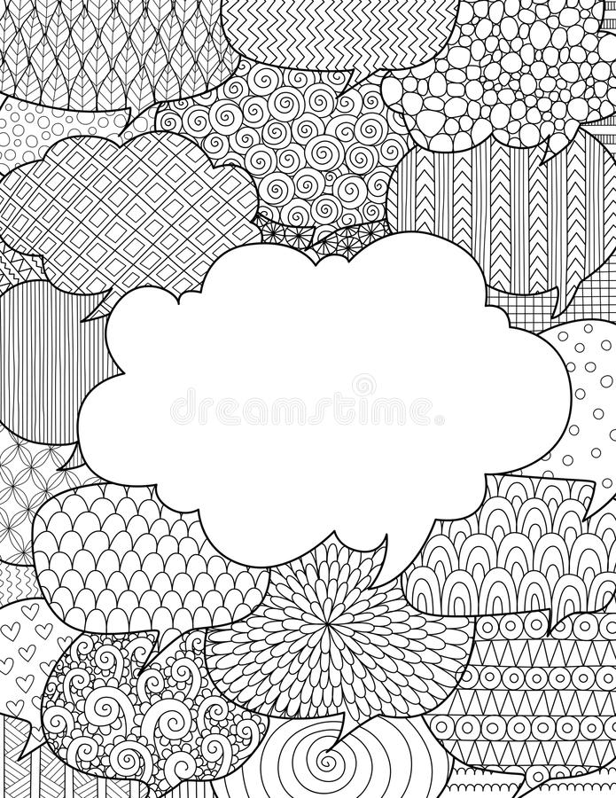 Doodle design of speech bubbles for illustration with communication concept royalty free illustration