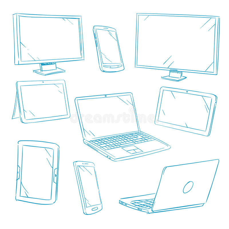 Doodle digital devices, tablet, pc, laptop, cell phone line vector icons vector illustration