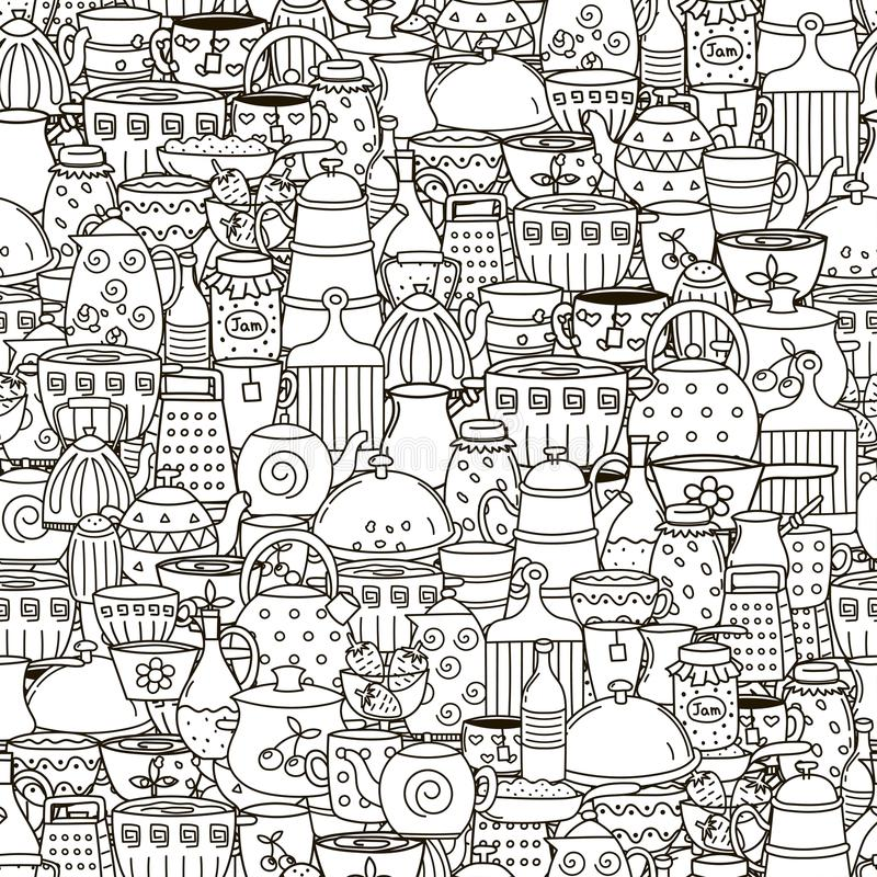 Doodle dishes seamless pattern. Black and white background vector illustration
