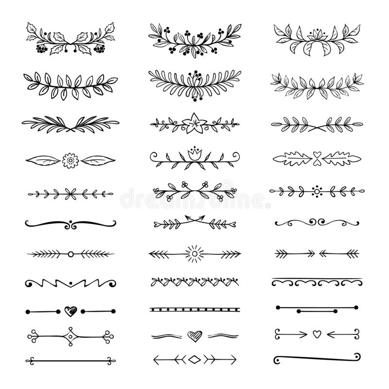 Doodle dividers. Hand drawn line borders and laurels, ornamental decorative frame, nature floral arrow sketch. Vector royalty free illustration
