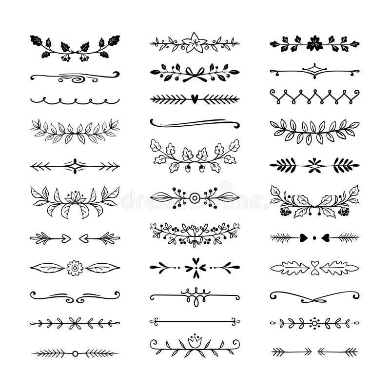 Doodle dividers Wręcza patroszone kreskowe granicy, ślubni dekoracja elementy, natura kwiecisty bobek Wektorowy divider ołówek royalty ilustracja