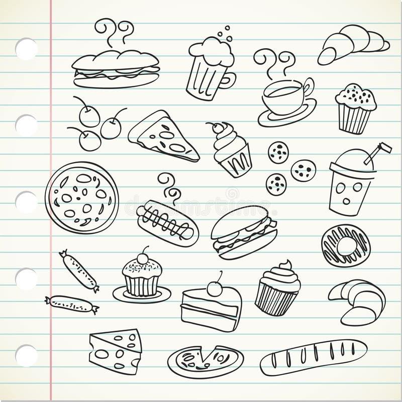 Doodle do alimento ilustração royalty free