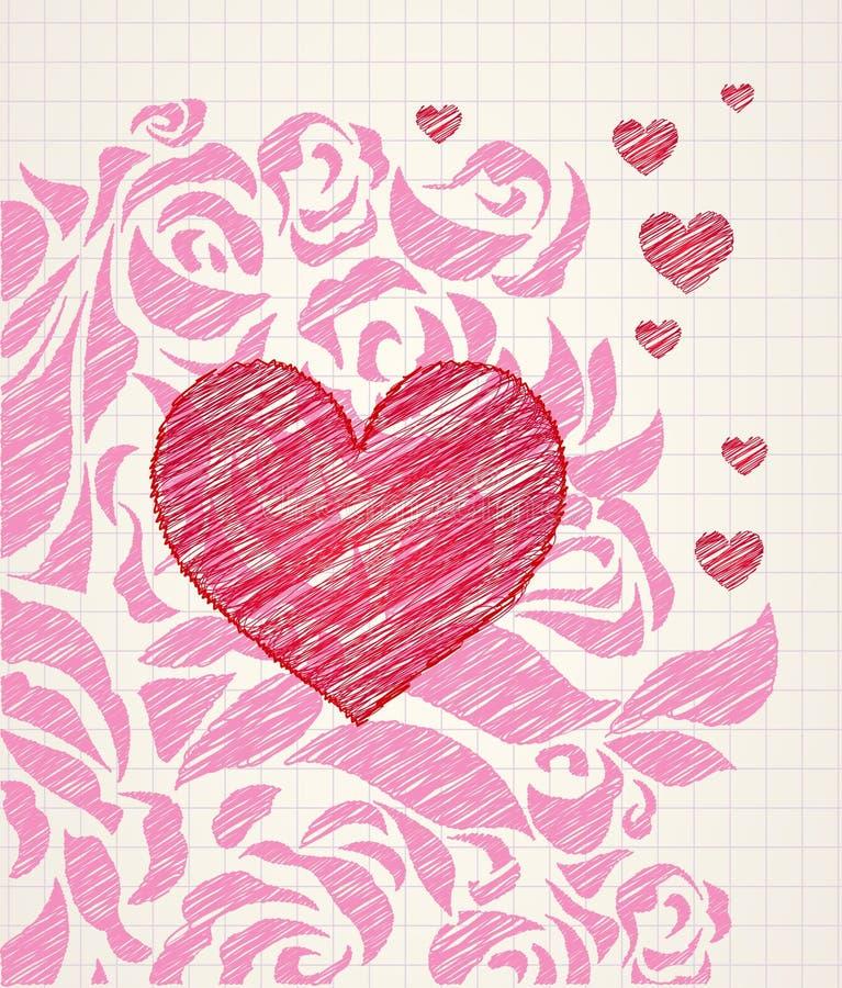 Doodle do amor ilustração stock