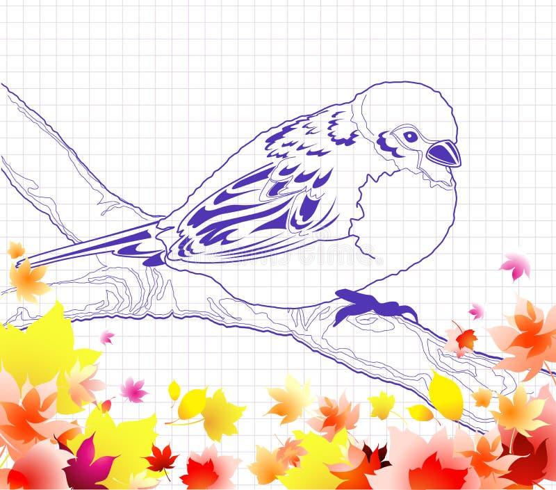 Doodle do pássaro ilustração royalty free