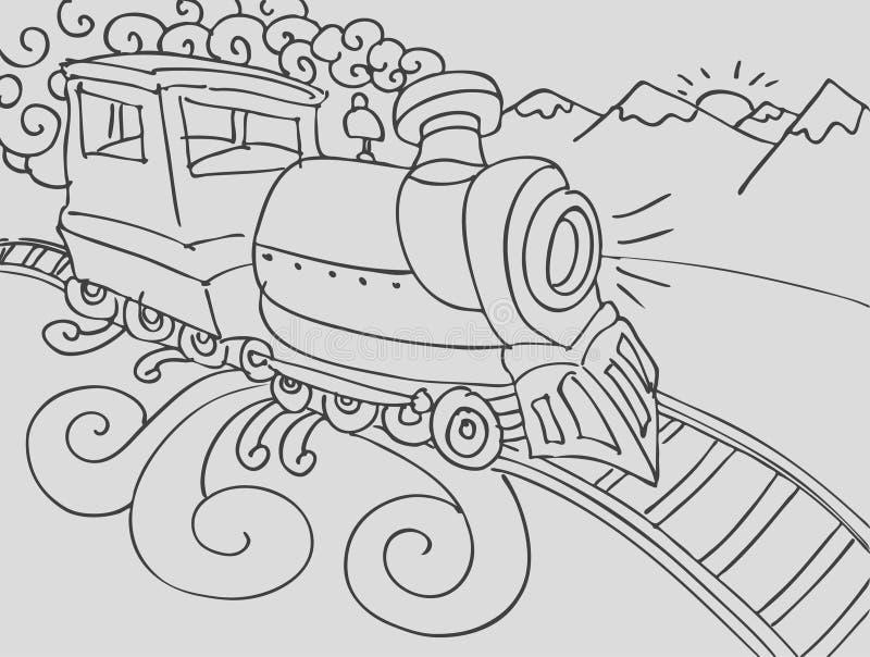 Doodle do trem ilustração royalty free