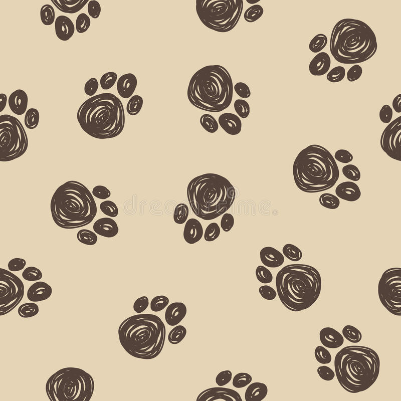 Free Doodle Dog Tracks Seamless Pattern Background. Stock Photos - 62645063