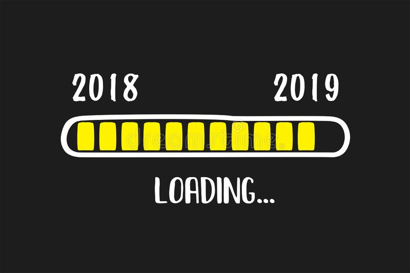 Doodle Download bar, 2018 and 2019 years loading text. Black background,funny card,vector illustration royalty free illustration