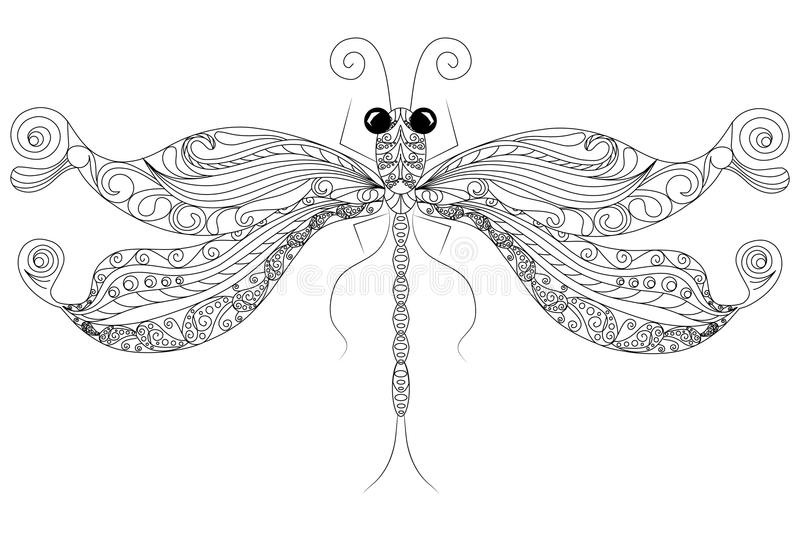 Doodle Dragonfly Coloring Page Anti-stress Stock Vector ...