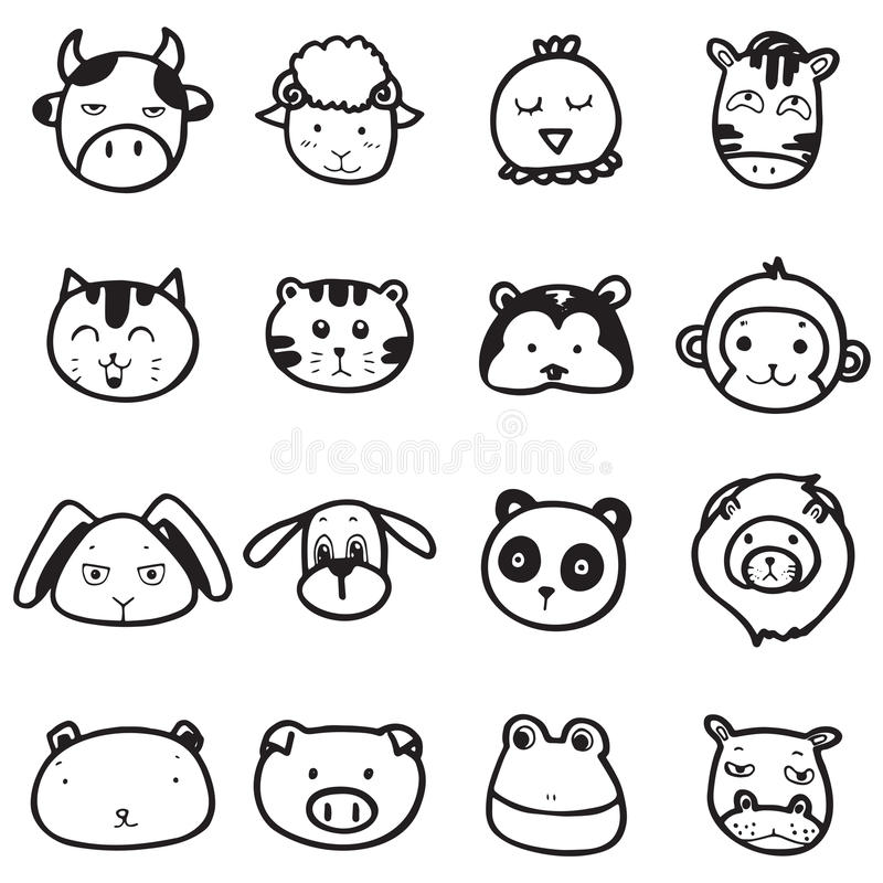 Download doodle drawing animal face emotion stock vector illustration of line head 87432027