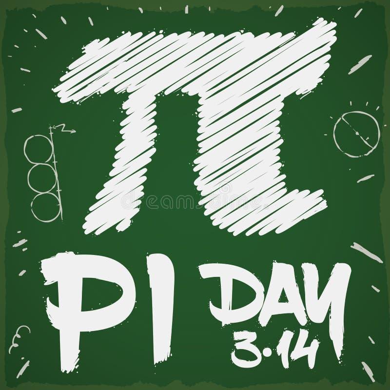 Doodle Drawing in a Chalkboard for Pi Day Celebration, Vector Illustration royalty free illustration