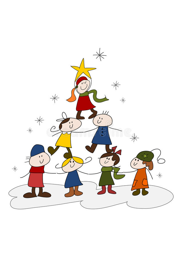 Doodle drawing: Christmas kids vector illustration