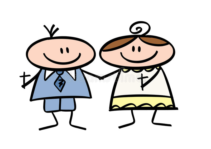 Doodle drawing: Communion Kids. Colorful doodle drawing of two happy kids celebrating first communion vector illustration