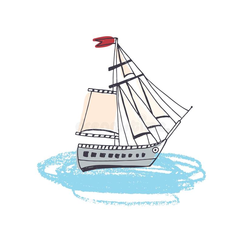 Doodle drawing of passenger ship, classical sailing boat or marine vessel with sail in ocean. Sailboat or yacht in sea stock illustration