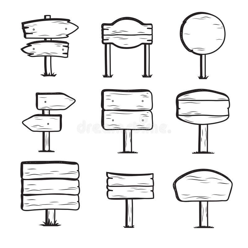 Doodle drewniani drogowi znaki Ręka rysująca wektorowa kierunku znaka kolekcja ilustracji