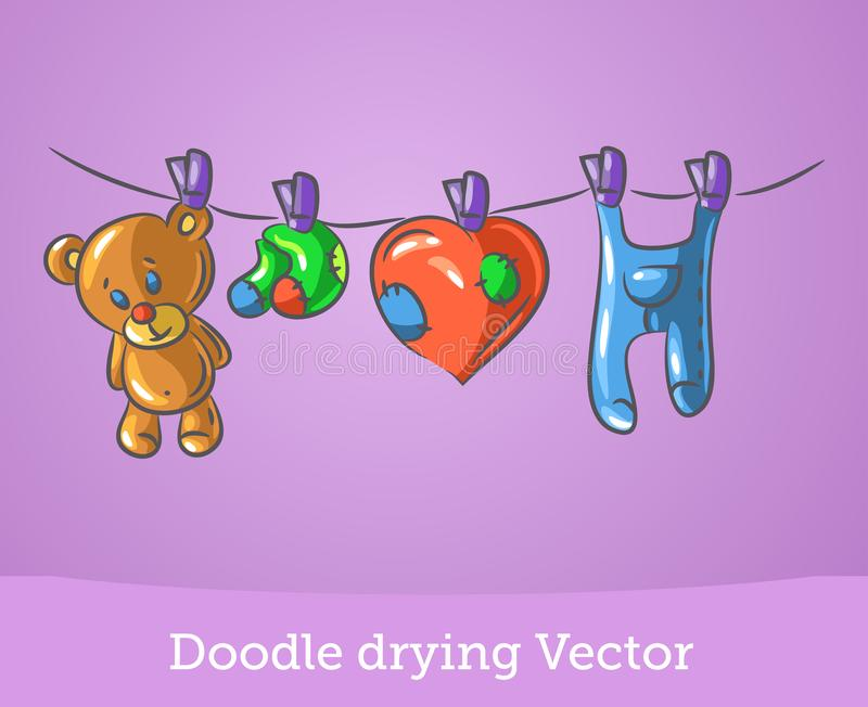 Doodle drying isolated on pink background. Vector. EPS10 stock illustration