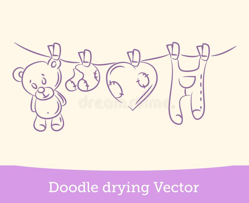 Doodle drying isolated on white background. Vector. EPS10 royalty free illustration
