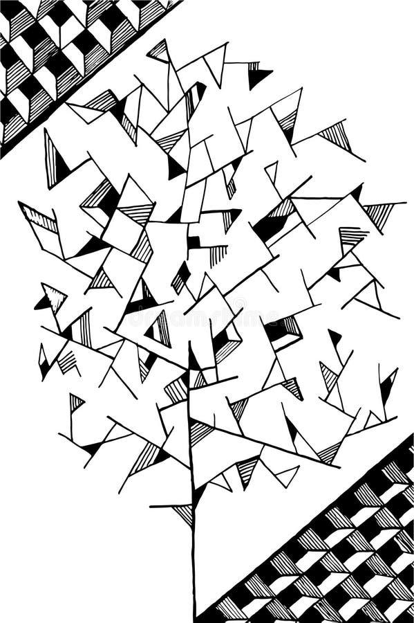 Doodle drzewny wizerunek dla barwić czerń odizolowywającego zdjęcia stock