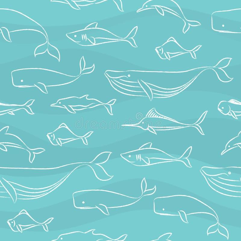 doodle duży ryba deseniują bezszwowego ilustracji
