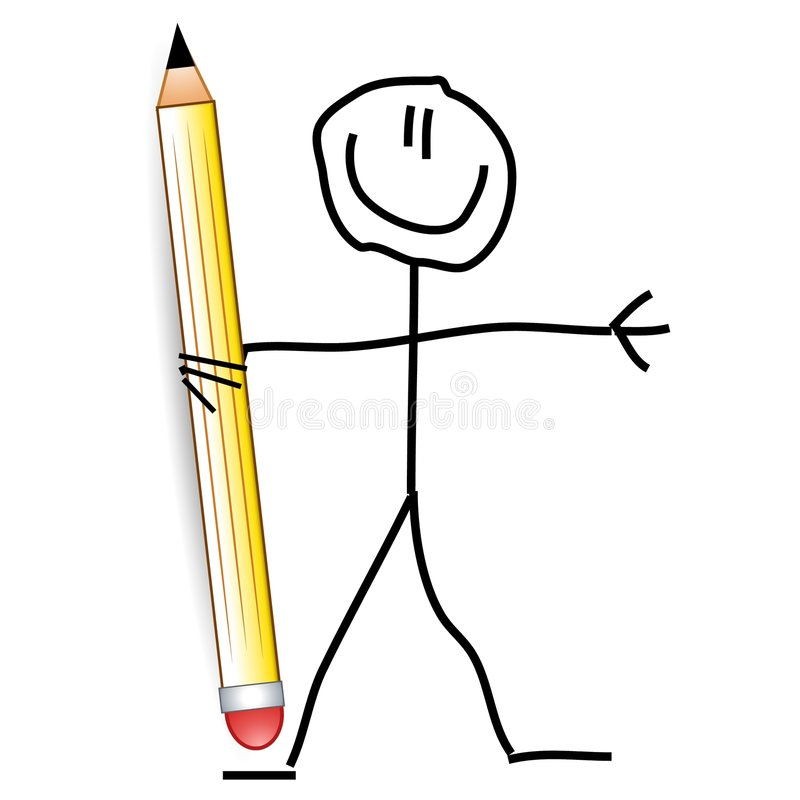 Doodle Dude Holding A Pencil stock illustration