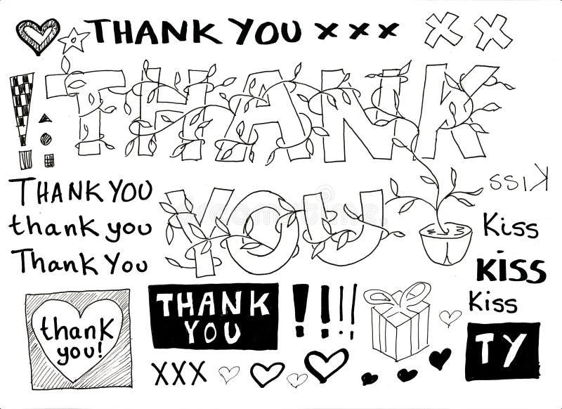 doodle dziękować ty ilustracji