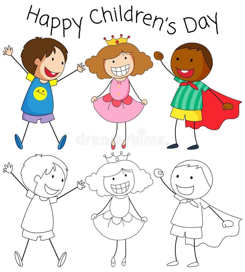Doodle dzieci dnia grafika royalty ilustracja
