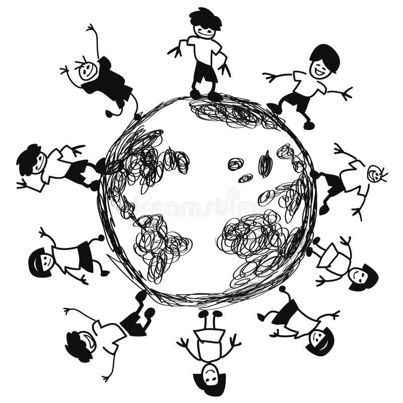 Doodle dzieciaki wokoło ziemskiego wektoru ilustracja wektor