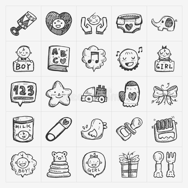 Doodle dziecka ikony sety royalty ilustracja