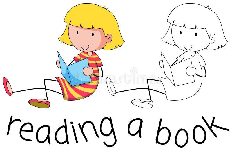 Doodle dziewczyna czyta książkę royalty ilustracja