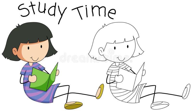 Doodle dziewczyny charakteru nauka ilustracji