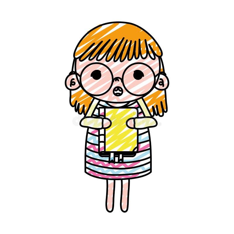Doodle dziewczyny dziecko z szkłami i edukacja rezerwujemy ilustracja wektor