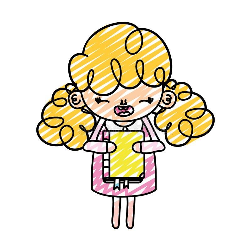 Doodle dziewczyny szczęśliwy dziecko z edukacji książką ilustracja wektor