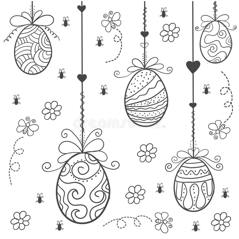 Doodle of easter egg style hand draw. Vector art royalty free illustration