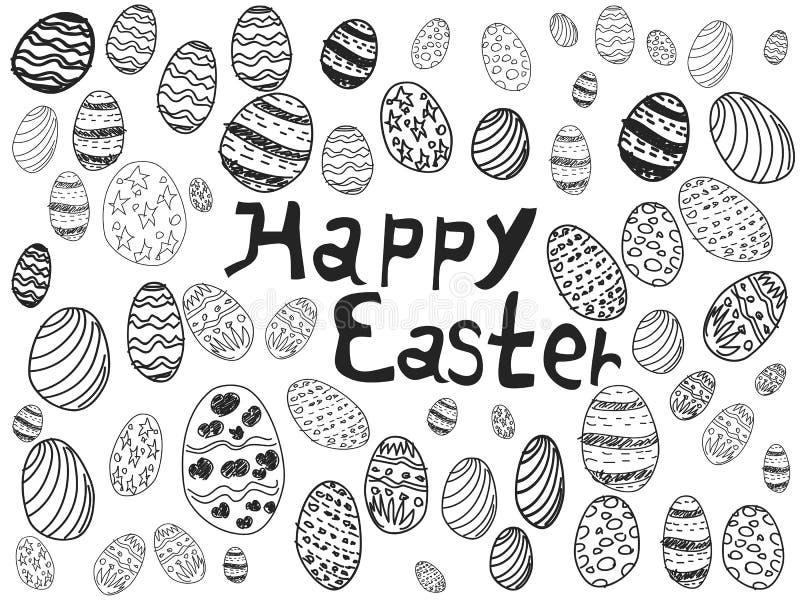 Doodle easter eggs background vector illustration