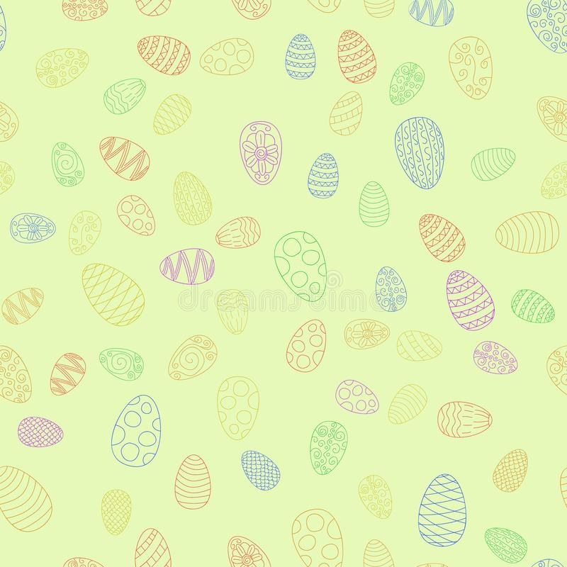 Doodle  easter eggs seamless pattern. Doodle  easter eggs chaotic seamless pattern royalty free illustration