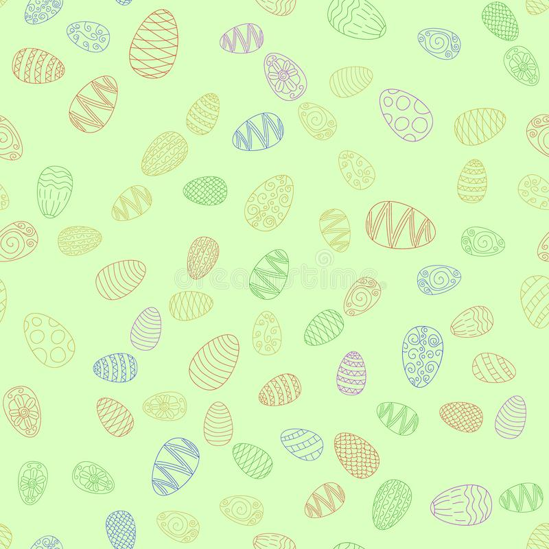 Doodle  easter eggs seamless pattern. Doodle  easter eggs chaotic seamless pattern stock illustration