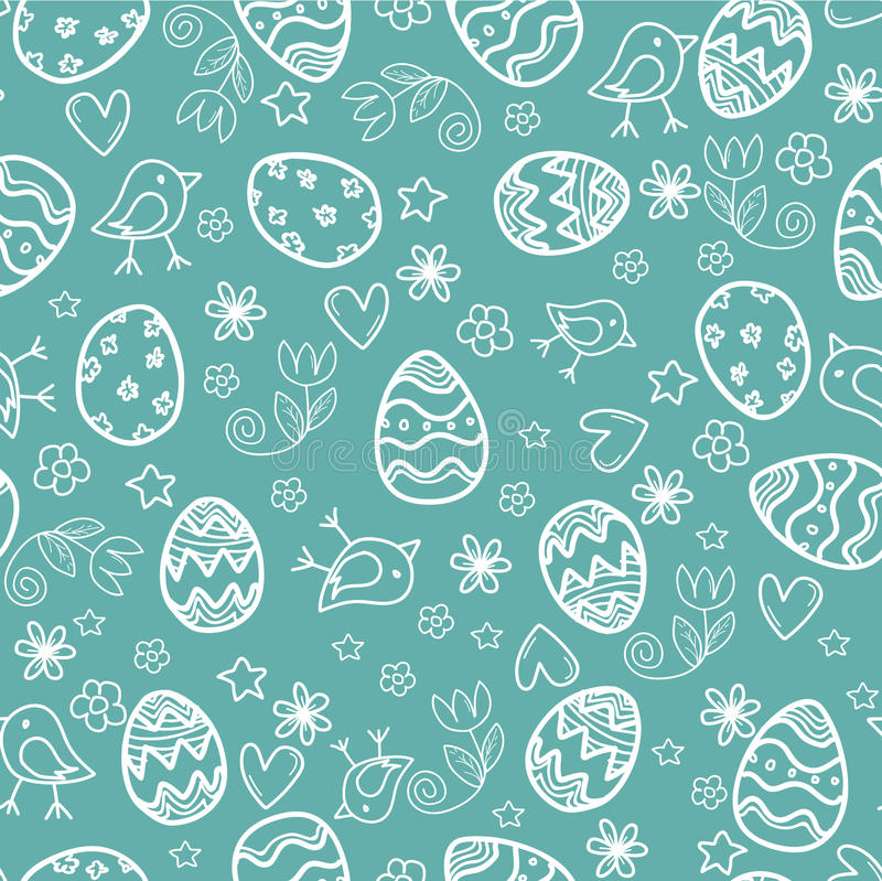 Doodle easter pattern. Vector seamless doodle easter pattern with Easter eggs vector illustration