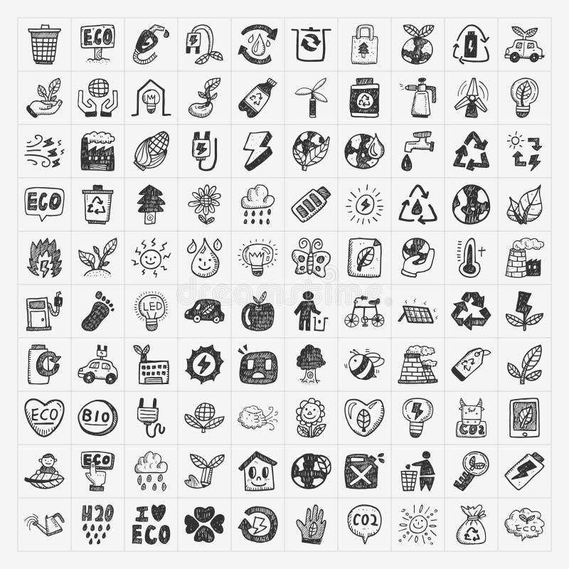 Doodle Eco Icons Stock Photos