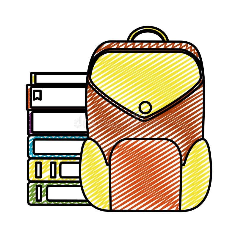 Doodle edukacji książki z plecak szkoły narzędziami royalty ilustracja