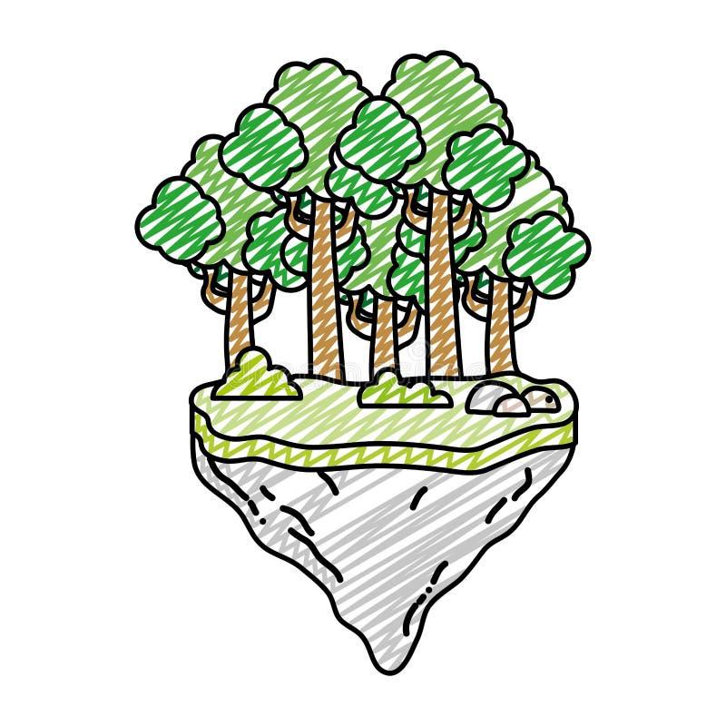 Doodle egzotycznych drzewa i krzaki w pływakowym idland ilustracji