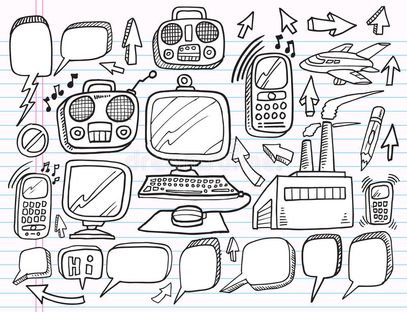 Doodle Electronics Work Business  set