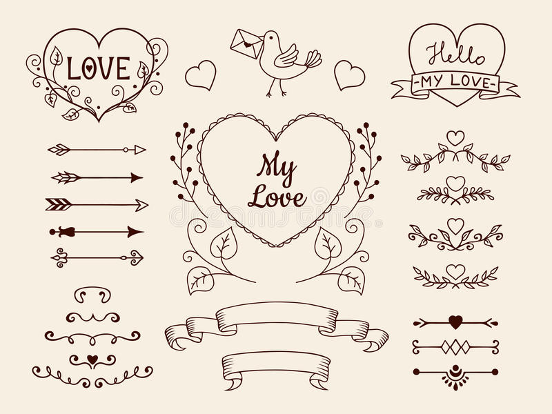 Doodle elementy dla valentine lub ślubu projekta Wręcza patroszone strzała, serca, dividers, tasiemkowi sztandary kreskówki serc  ilustracja wektor