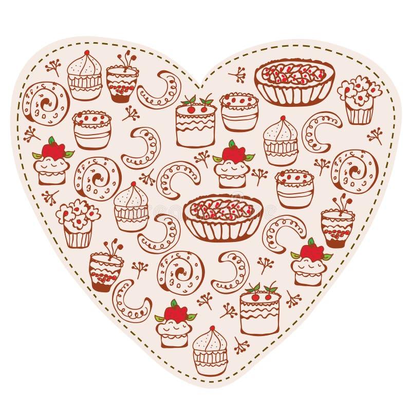 Doodle engraçado dos doces do coração ilustração royalty free