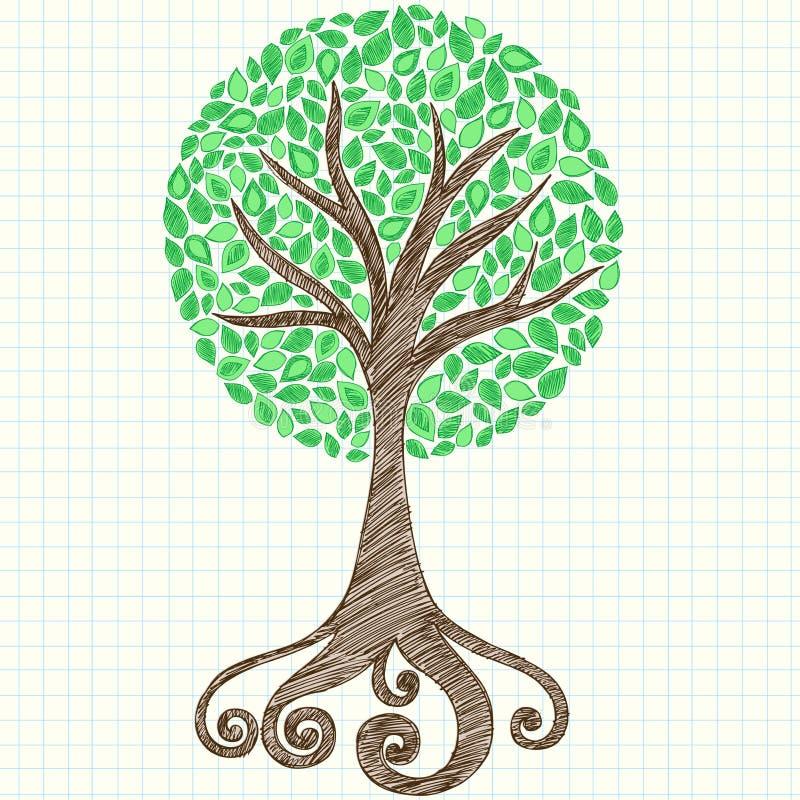 Doodle esboçado do caderno da árvore no papel de gráfico ilustração royalty free