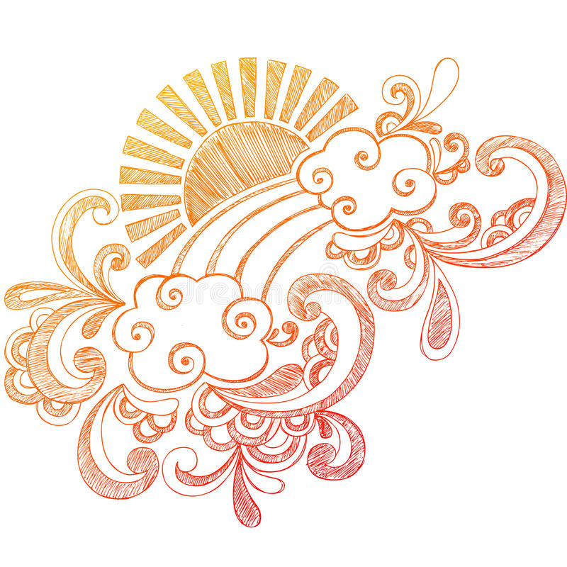 Doodle esboçado do caderno de Sun do verão ilustração stock