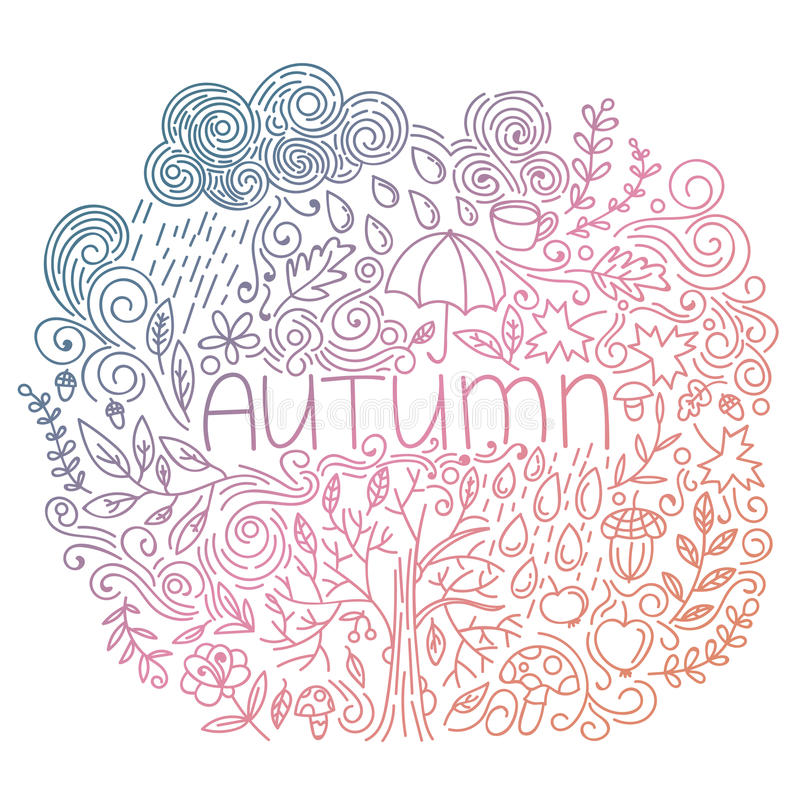 Doodle fall card with word autumn, floral elements, rain cloud and drops, tree fall, acorn, umbrella, mushrooms, curly lines. stock illustration