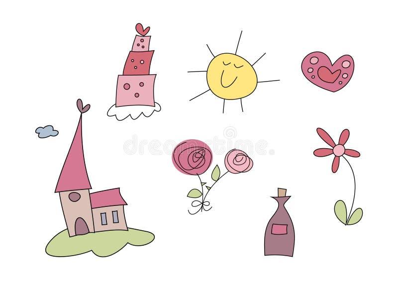 Doodle fijado: Boda ilustración del vector